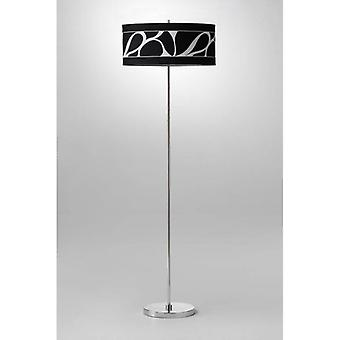 Manhattan Floor Lamp 3 Bulbs L1 / Sgu10, Polished Chrome / Frosted Glass With Black Shade