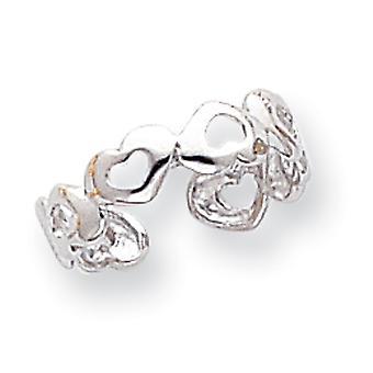 14k oro blanco pulido amor corazón corazón anillo joyería regalos para las mujeres - .9 gramos