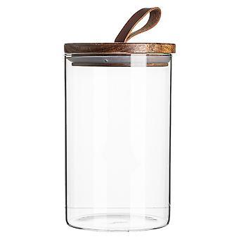 Glazen pot met houten deksel opslag container - Ronde Scandinavische stijl luchtdichte bus - 1 liter