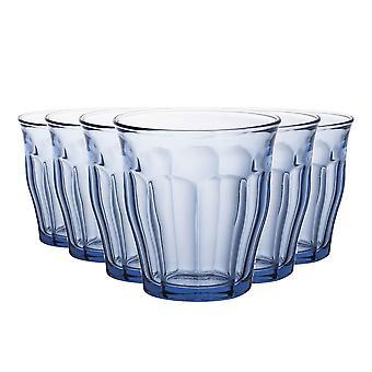 Duralex Picardie Drinkglazen - 220ml Tuimelaars voor water, sap - Blauw - Pakje van 12