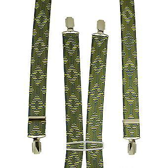 Corbatas Planeta Amarillo y Azul Geométrico Patrones Hombres's Pantalón Braces