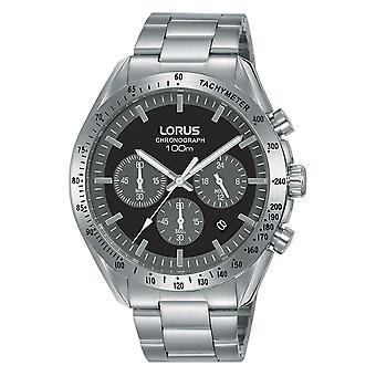 Lorus Mens Chronograph Edelstahl Armbanduhr mit schwarzem Zifferblatt (RT335HX9)