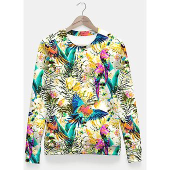 Jungle of fruit with tropical parrots sudadera entallada