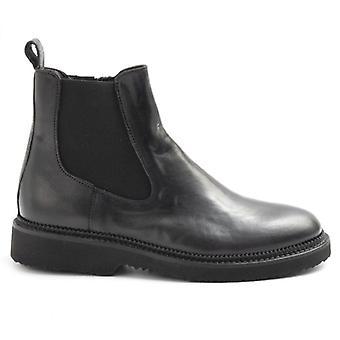 Svart Sangiorgio Svart Kvinnors Ankelstövlar i läder med elastics