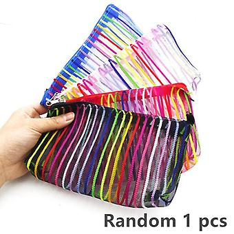 Transparent Mesh School Pencil Bag, Capacity Nylon Pen Bag For Kid