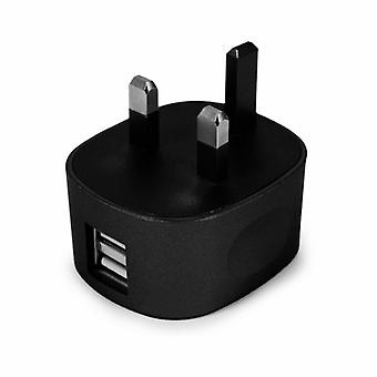 FX Dual USB Mains Charger 2.4 AMP Plug (UK) For SmartPhones & Tablets, Black