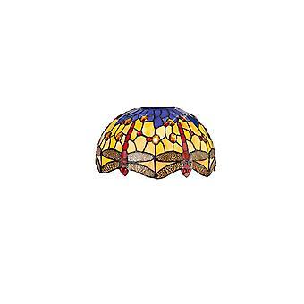 Morgan Tiffany 30cm Tonalità non elettrica adatta per ciondolo/soffitto/tavolo Lampada, Blu/arancione/cristallo