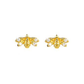 Diamond Small Tiny Stud Bee Boucles d'oreilles Jaune Gold Miel Blanc Brillant Coupe ronde