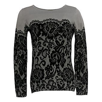 Bob Mackie Women's Sweater (XXS)Long Sleeve Printed Pullover Gray A239162
