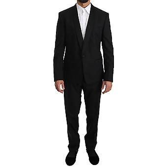 Black wool one button slim martini suit