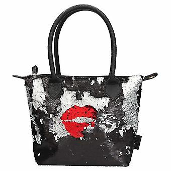 Trend Love Handbag With Sequins Kiss Black