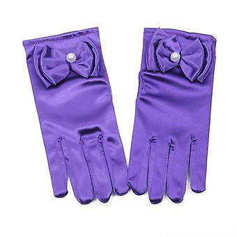 Mooie elastische etiquette prestaties handschoenen Pearl Flower Lace Bow Short