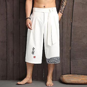 Jddton Men's Japanilainen Kimono Perinteinen Tyyli Kesä Rento Leveät Housut