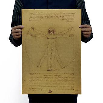 Leonardo Da Vinci Manuskripte Vitruvian Mann Vintage Kraft Papier Filmplakat