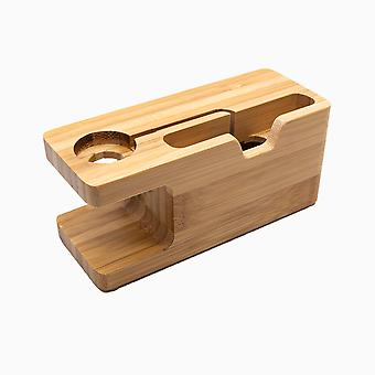 Wood Box, Phone Stand Apple Watch, 4 Charging Table Base Bamboo Stand