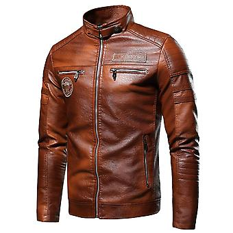 Men Autumn Casual Motor Distressed Leather Jacket Coat