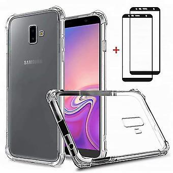 Samsung galaxy j6+/j6 plus case, dygg case soft tpu silicon transparent shockproof bumper with [2*te