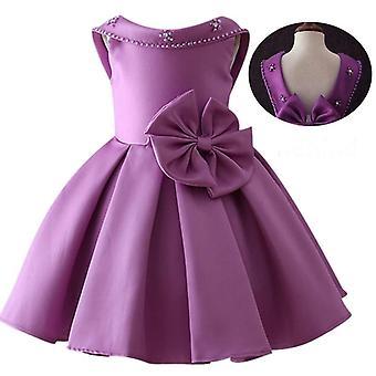 Kleine Kinder Satin Kommunion Kleid Glitzer Ball Kleid Pageant Blume für Hochzeiten