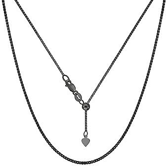 """Sterling Silber Schwarz-Ruthenium überzogen 22"""" Schiebe-einstellbare Box Kette Halskette, 1,4 mm"""