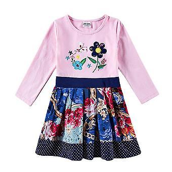 Lässige Blumenstickerei Mädchen Kleid, Blume, Punkte, Säugling