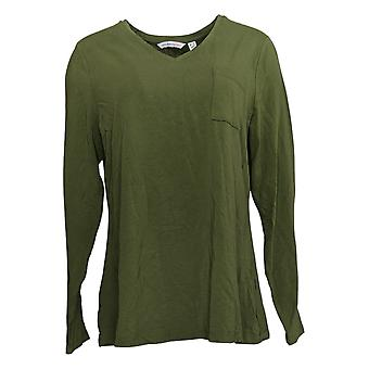 Isaac Mizrahi Live! Women's Top V-Neck Knit With Chest Pocket Green A385194