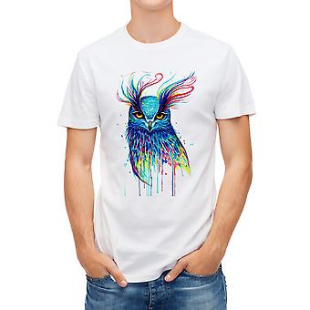 Allthemen Men's White T-shirt Single-sided Printing-Color Owl