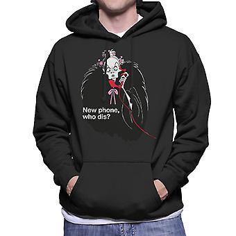 Disney Cruella De Vil New Phone Who Dis Men's Hooded Sweatshirt