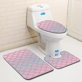 Modèle d'échelle de poisson de tapis de toilette de 3PC