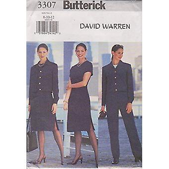 Butterick ompelu kuvio 3307 Misses Vuorattu Takki Mekko Housut Koko 8-12 Leikkaamaton