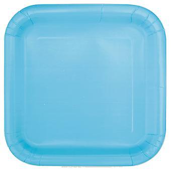 14 Assiettes carrées en carton bleues pastel 22 cm