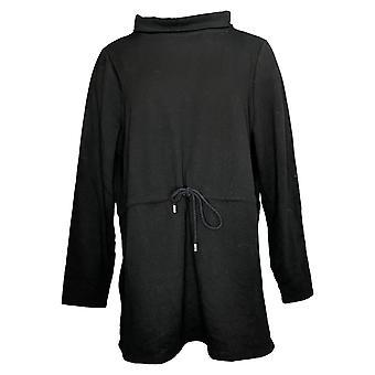 Denim & Co. Women's Brushed Back Jersey Mock Neck Top Black A388289
