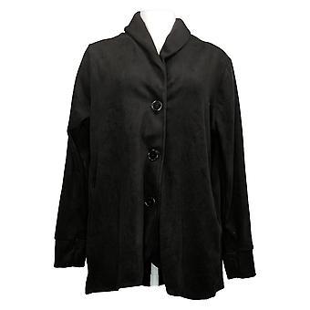 Cuddl Duds Women's Sweater Fleecewear Button Front Cardi Black A369667