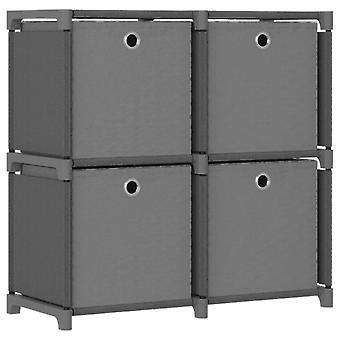 vidaXL cube shelf with boxes 4 compartments grey 69x30x72,5 cm fabric