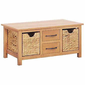 vidaXL Sideboard 88×53×43 cm Solid wood oak and water hyacinth
