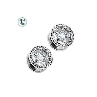 Tunnel ear plug with clear star cz gem large gauge screw-fit