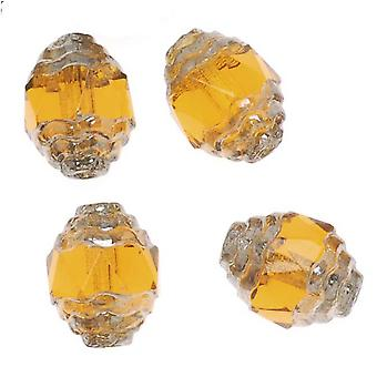 Catedral Checa 10mm Art Deco Beads Topaz Silver Ends (10)