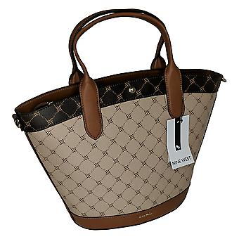 Nine West Round Tote Bag Removeable Strap Brown A443633