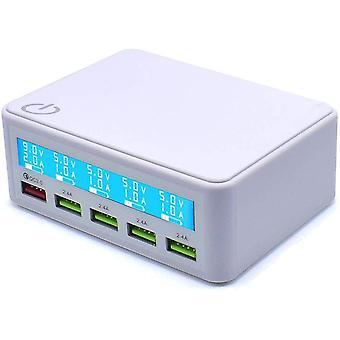 FengChun Caricabatterie USB QC 50W con Schermo LCD costituito da 4 Porte USB per iPhone, iPad,