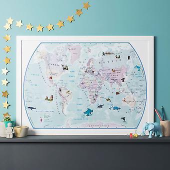 Världs illustrerad klistermärke karta (papper enkel sida laminering)