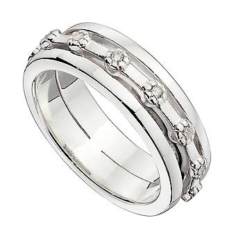 Elements Silver 925 Sterling Silber Herren Clear Cubic Zirconia Spinning Band Ring