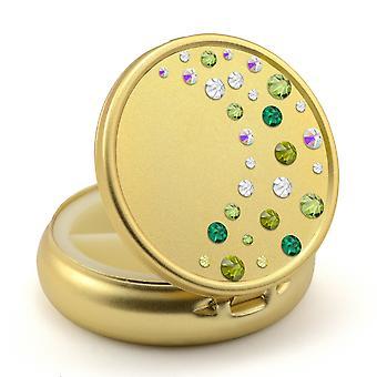 Pill Box en color dorado con cristales de Swarovski Waterfall Design - Peridot - Esmeralda