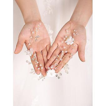 Silver Rose Gold Wedding Headband Crystal Rhinestone Flower Headpieces Bride