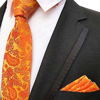 Bright orange paisley necktie & pocket square set