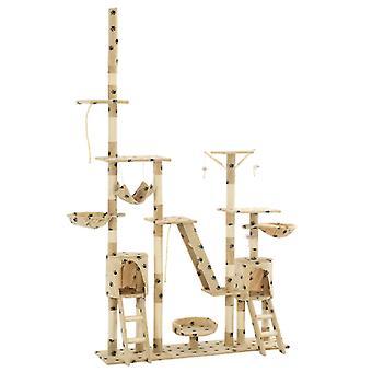 vidaXL Katzen-Kratzbaum Sisal 230 - 250 cm Pfoten-Aufdruck Beige