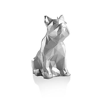 Silver Low Poly Bulldog Candle