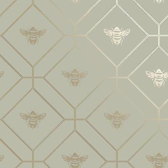 Honeycomb Bee Green Wallpaper