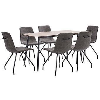 vidaXL 7 pcs. Dining group dark brown faux leather