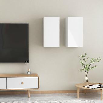 vidaXL TV-kaapit 2 kpl. kiiltävä valkoinen 30,5x30x60 cm lastulevy