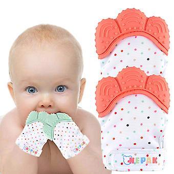 4 Pack Baby Teething Mitten,Baby Beißhandschuhe,Knisternder Handschuh für Babys Coral + Mint Colours