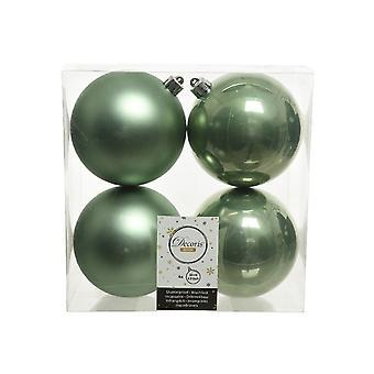 4 Salvia Grön 10cm Shatterproof julgran Bauble Dekorationer